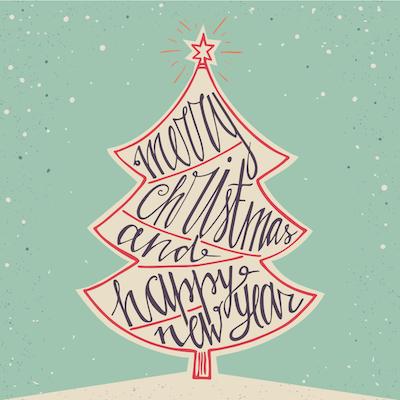 Free Printable Christmas Cards Vintage Tree Word Art