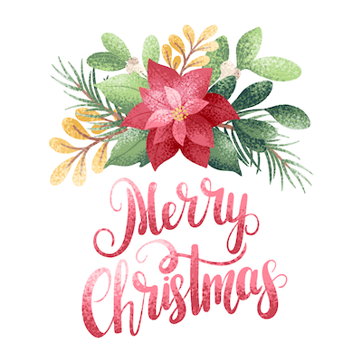 Printable Christmas Cards - Watercolor Poinsettia Red Green