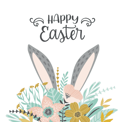 Free Printable Easter Cards 5x5 Bunny Ears Flowers