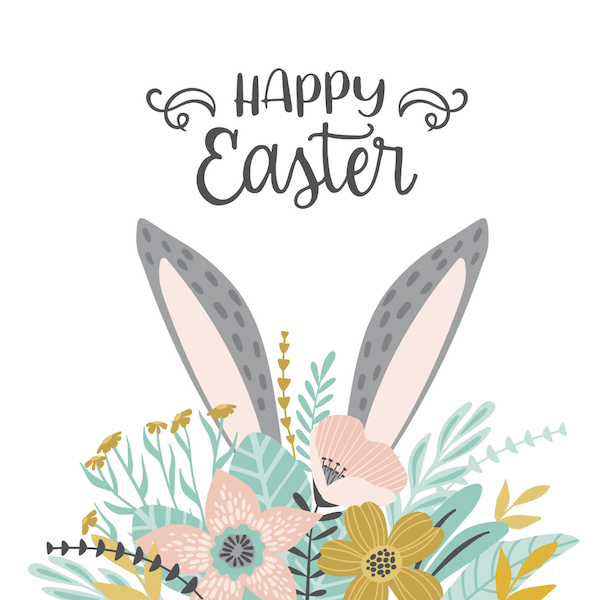 free printable easter cards - Bunny ears and flowers