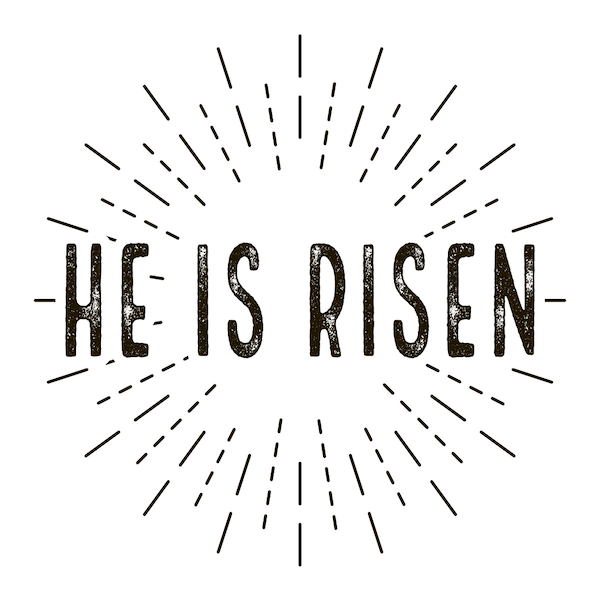 free printable easter cards - He is risen stamp