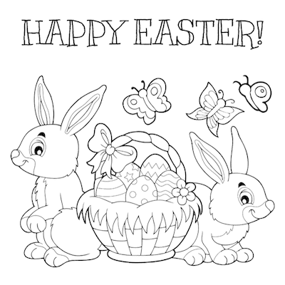 Free Printable Easter Cards 5x5 Coloring Basket Bunnies Eggs
