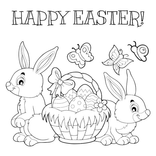 free printable easter cards - Bunny basket coloring