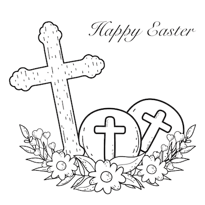 Free Printable Easter Cards 5x5 Coloring Christian Cross Eggs Flowers
