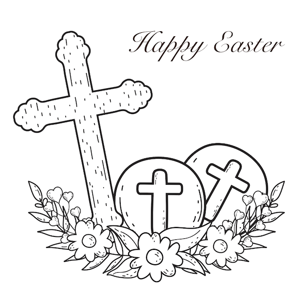 free printable easter cards - Cross and eggs coloring