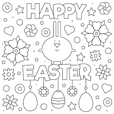 Free Printable Easter Cards 5x5 Coloring Easter Flowers Bunny