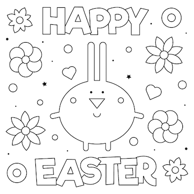 Free Printable Easter Cards 5x5 Coloring Easter Flowers Bunny Easy