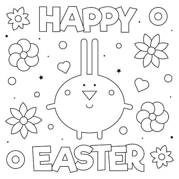 free printable easter cards - Simple Happy Easter bunny coloring