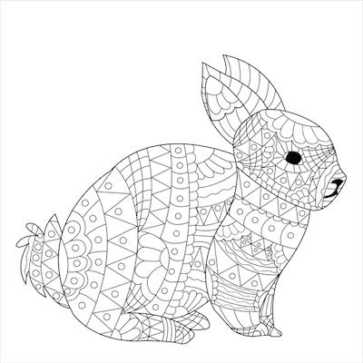 Free Printable Easter Cards 5x5 Coloring Intricate Bunny Doodle
