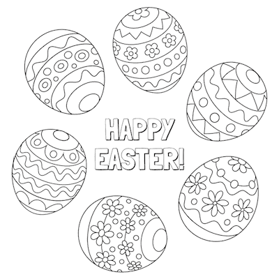Free Printable Easter Cards 5x5 Coloring Patterned Eggs
