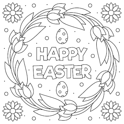 Free Printable Easter Cards 5x5 Coloring Tulip Wreath