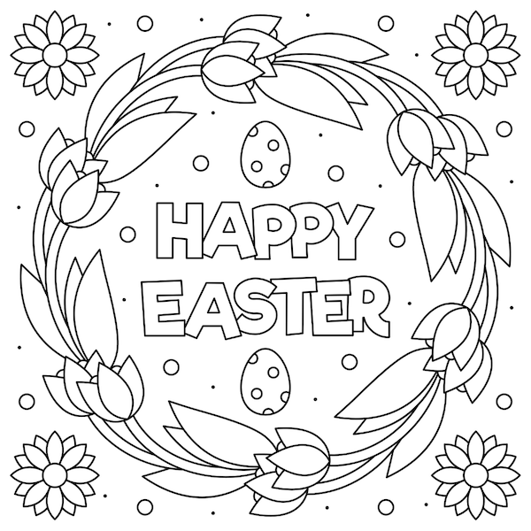 free printable easter cards - Tulip wreath coloring