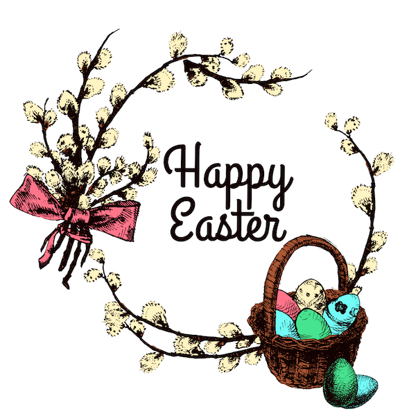 free printable easter cards - Cotton wreath and eggs