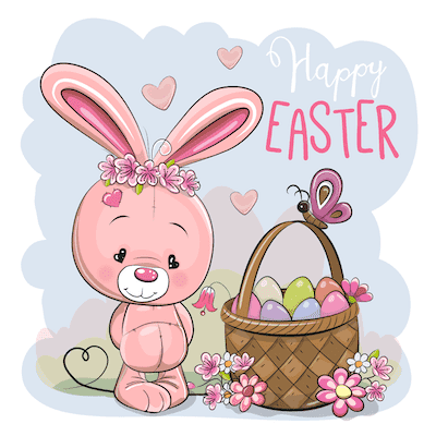 Free Printable Easter Cards 5x5 Cute Bunny Basket Eggs