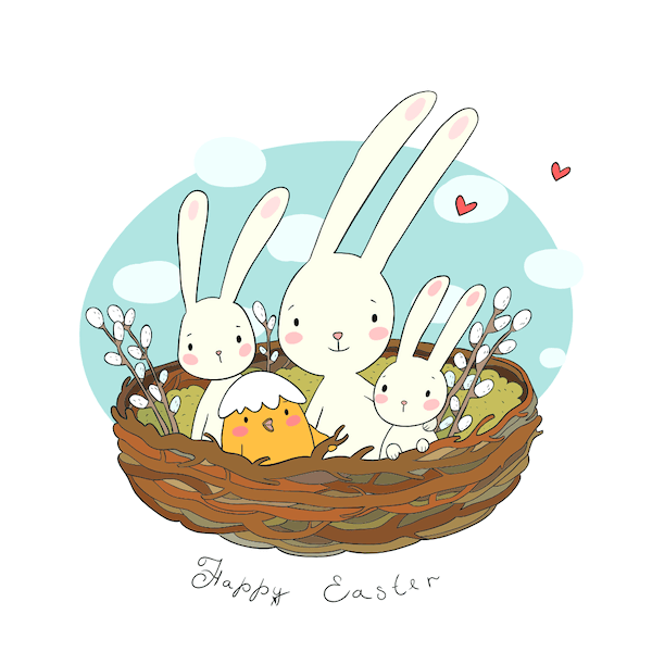 free printable easter cards - Cute bunnies and chick in nest