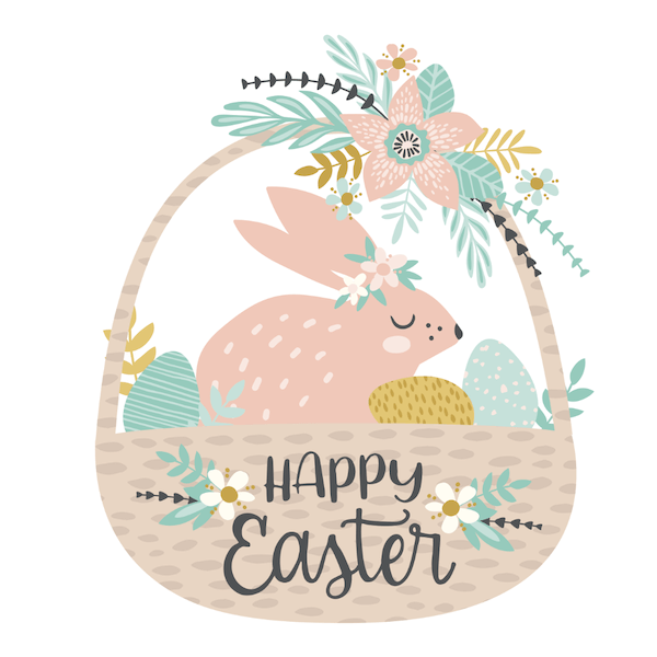 free printable easter cards - Easter basket with bunny
