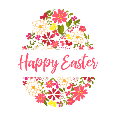 Free Printable Easter Cards 5x5 Egg Flower Pattern