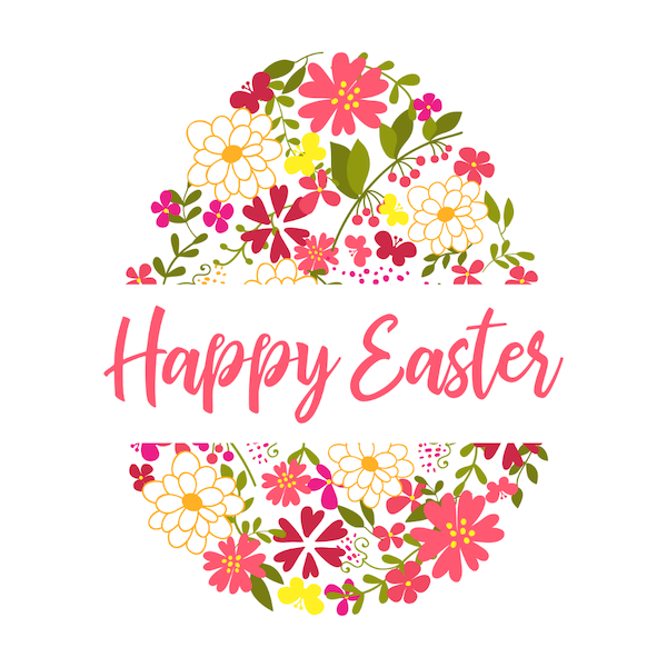 free printable easter cards - Flower-decorated egg