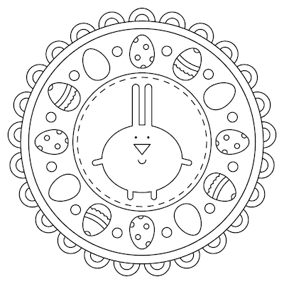 Free Printable Easter Cards 5x5 Egg Mandala to Color