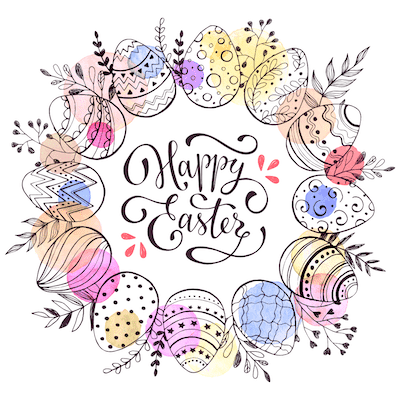 Free Printable Easter Cards 5x5 Egg Wreath
