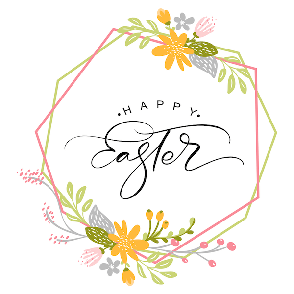 free printable easter cards - Geometric flower wreath
