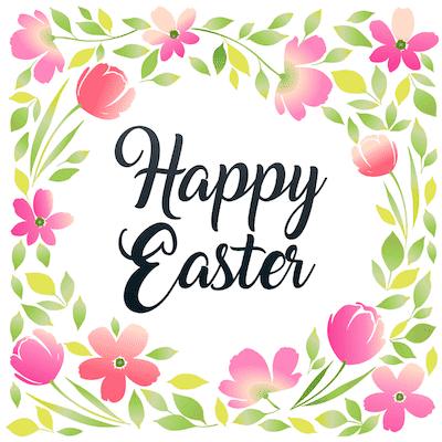 Free Printable Easter Cards 5x5 Pink Flower Border