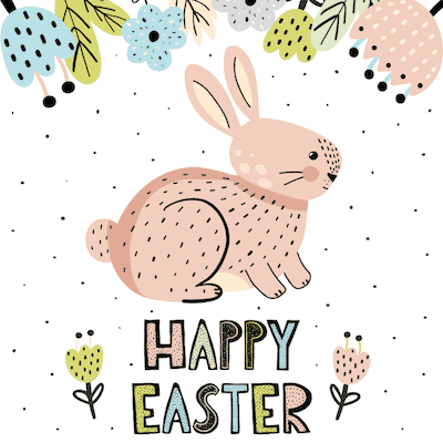 Free Printable Easter Cards 5x5 Speckled Bunny Flowers