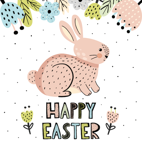 free printable easter cards - Speckled bunny and flowers