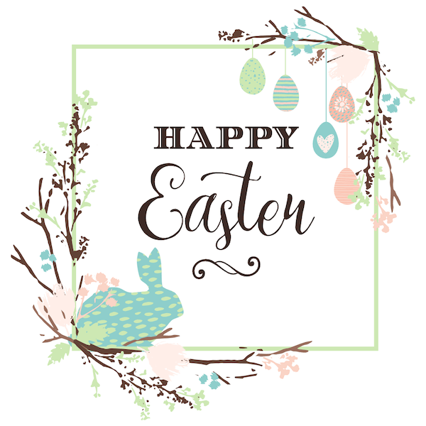free printable easter cards - Spring sprigs and bunny