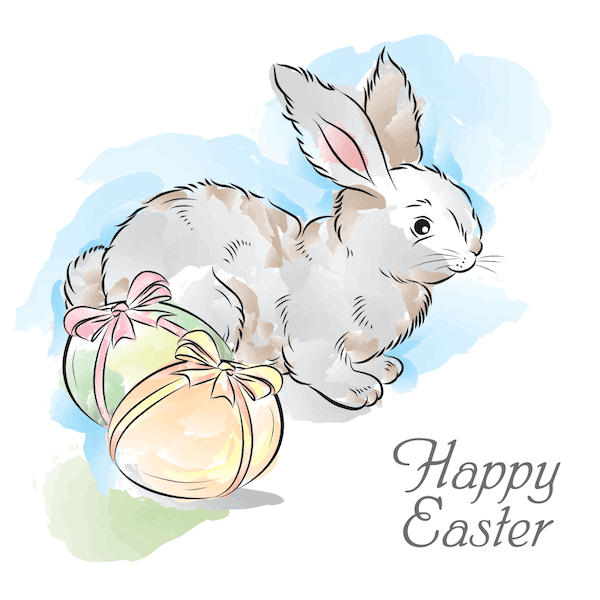 free printable easter cards - Watercolor bunny and eggs