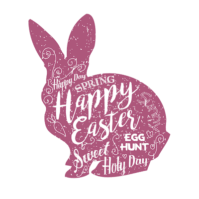 Free Printable Easter Cards 5x5 Word Art Bunny