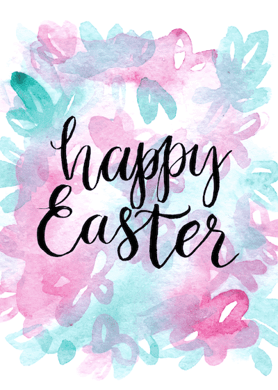 Free Printable Easter Cards 5x7 Abstract Watercolor Bouquet