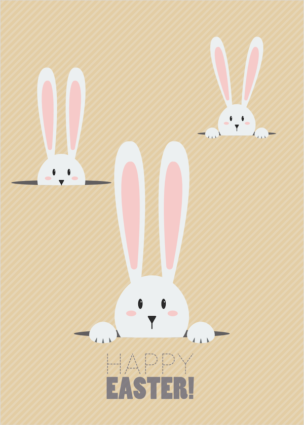 free printable easter cards - Peeping bunnies