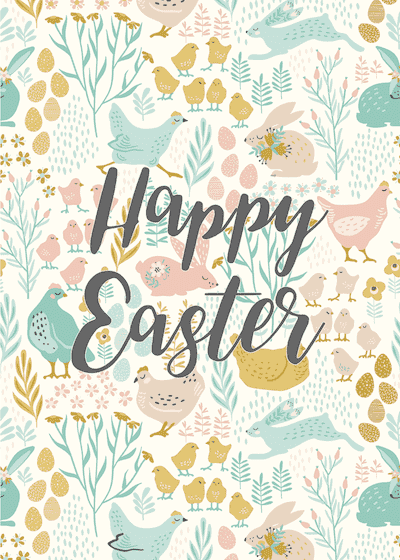 Free Printable Easter Cards 5x7 Chicken Rabbit Flowers Background