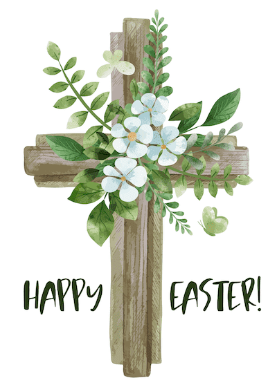 Free Printable Easter Cards 5x7 Christian Cross Flowers