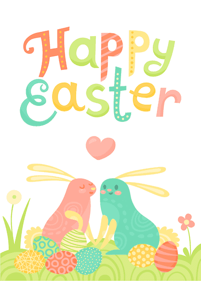 Free Printable Easter Cards 5x7 Colorful Bunnies Eggs Heart