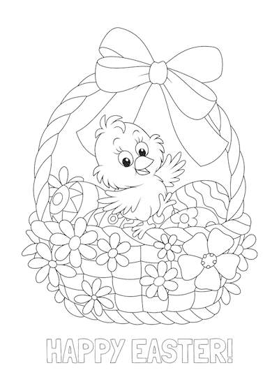 Free Printable Easter Cards 5x7 Coloring Chick Easter Basket