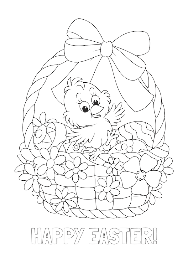 free printable easter cards - Chick and basket coloring
