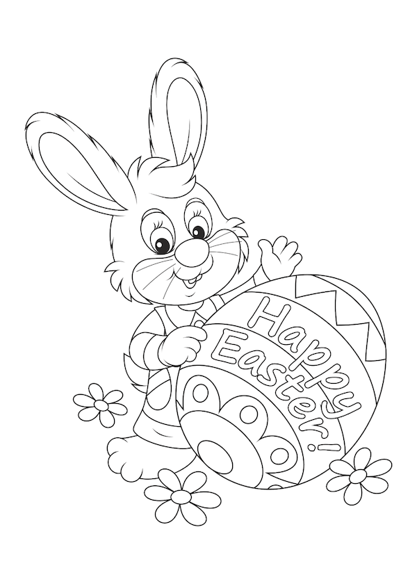 free printable easter cards - Easter bunny witth egg coloring