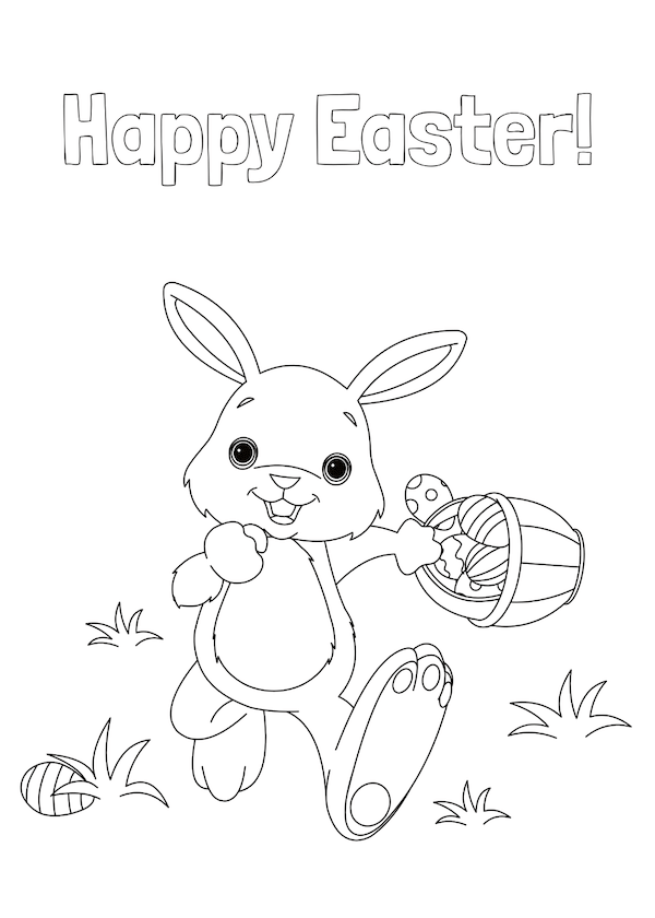 free printable easter cards - Running bunny with basket coloring