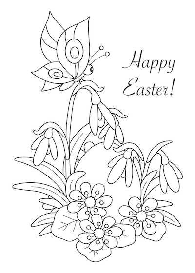 Free Printable Easter Cards 5x7 Coloring Egg Spring Flowers
