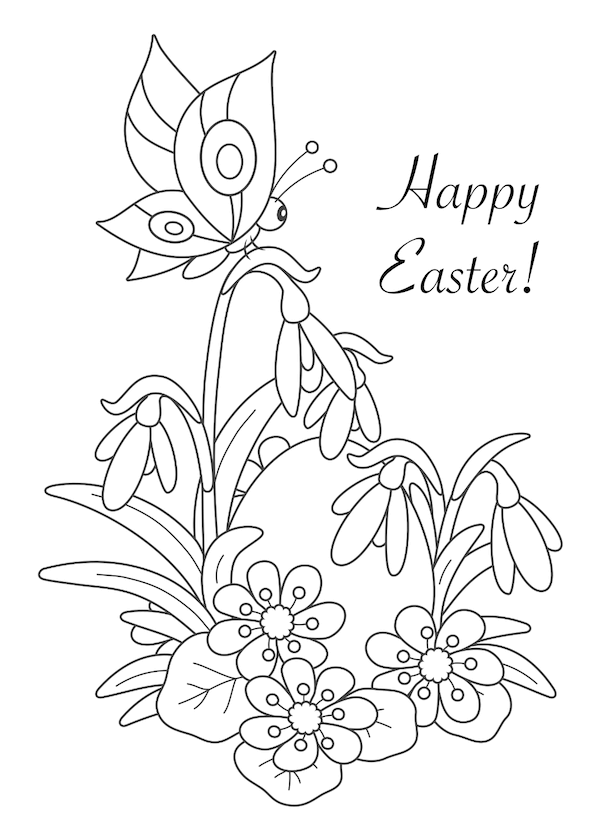 free printable easter cards - Egg and spring flowers coloring