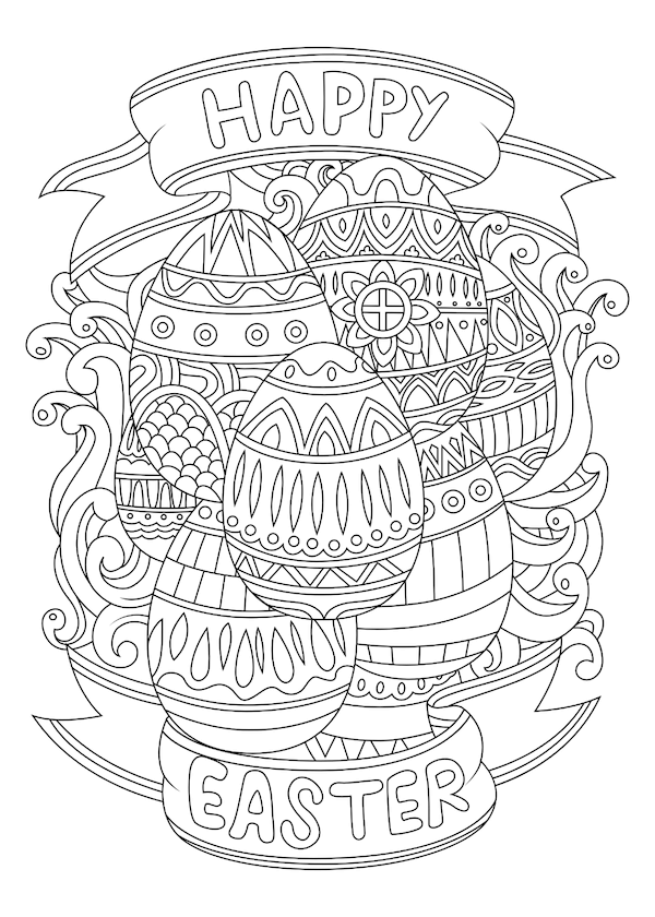 free printable easter cards - Intricate patterned eggs coloring