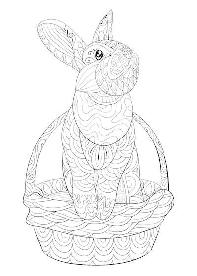 Free Printable Easter Cards 5x7 Coloring Patterned Rabbit Basket Doodle