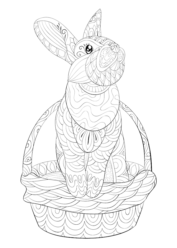 free printable easter cards - Intricate rabbit and basket coloring