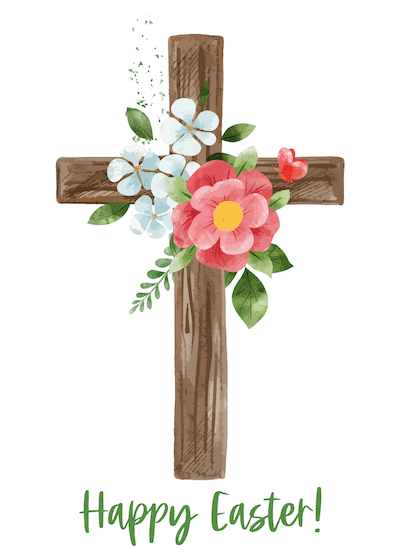 Free Printable Easter Cards 5x7 Religious Cross Flowers