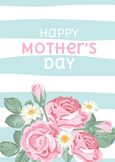 Free Printable Mothers Day Cards Blue Stripes Pink Roses