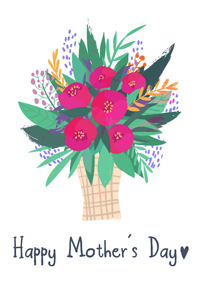 Free Printable Mothers Day Cards Bouquet Spring Flowers