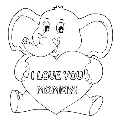 Free Printable Mothers Day Cards Elephant Heart to Color