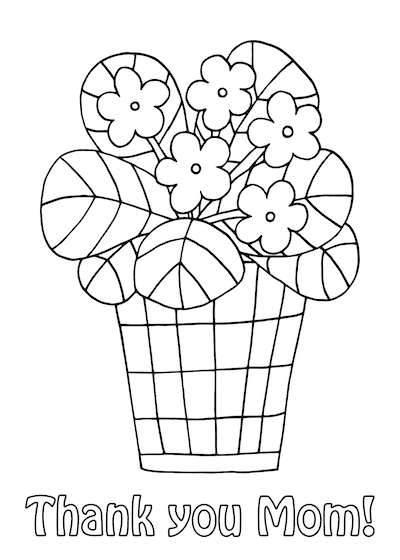 Free Printable Mothers Day Cards Flower Pot to Color